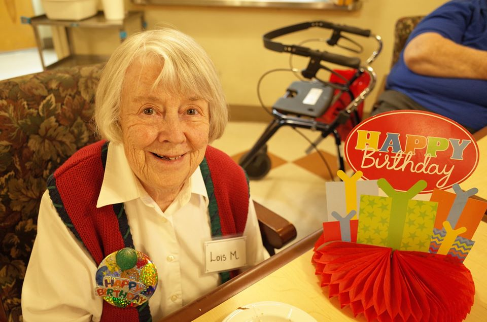 A Grace Center participant celebrating her birthday at the center